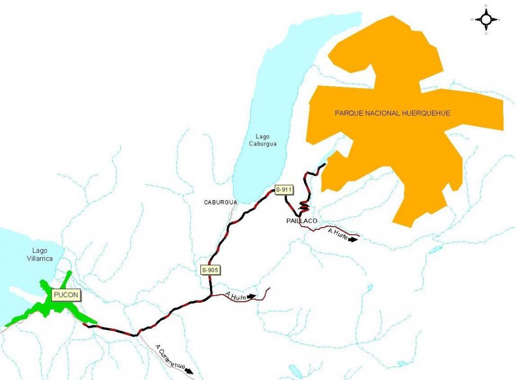 Mapa del camino a Parque Nacional Huerquehue