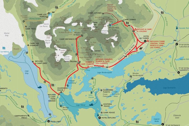 Circuito W Torres del Paine en rojo. Mapa diseñado por León del Monte y disponible en Fantasticosur.com