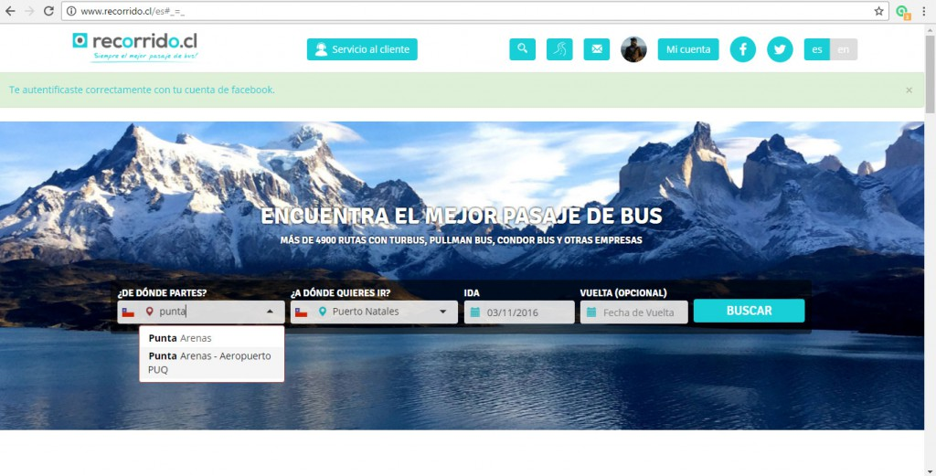 Trayecto Aeropuerto Punta Arenas - Puerto Natales en Recorrido.cl
