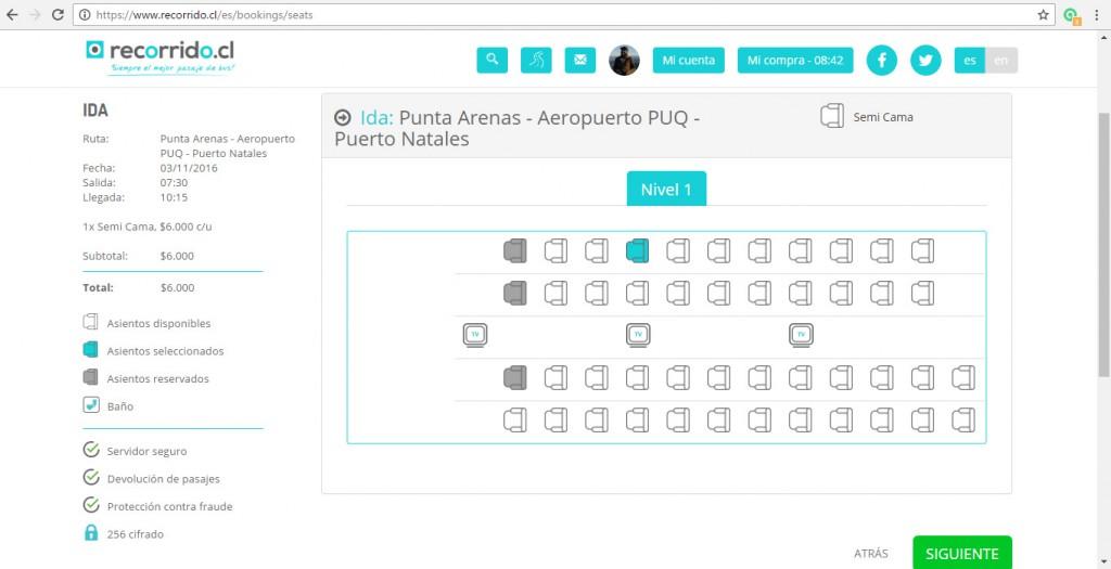 Elección de asientos en el tramo Aeropuerto Punta Arenas - Puerto Natales