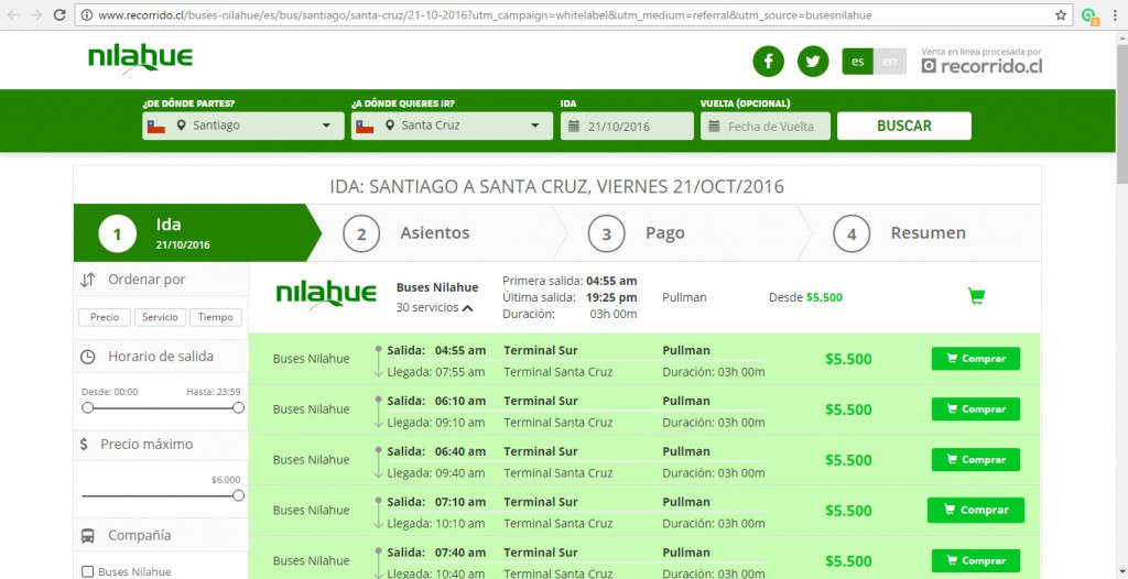 Compra online de pasajes de Buses Nilahue en Recorrido.cl