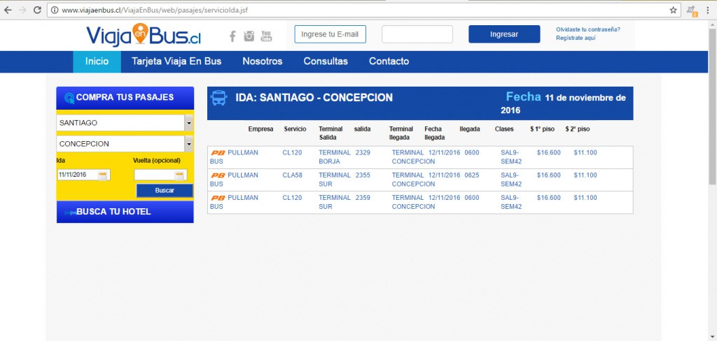 pullman bus - santiago - concepción