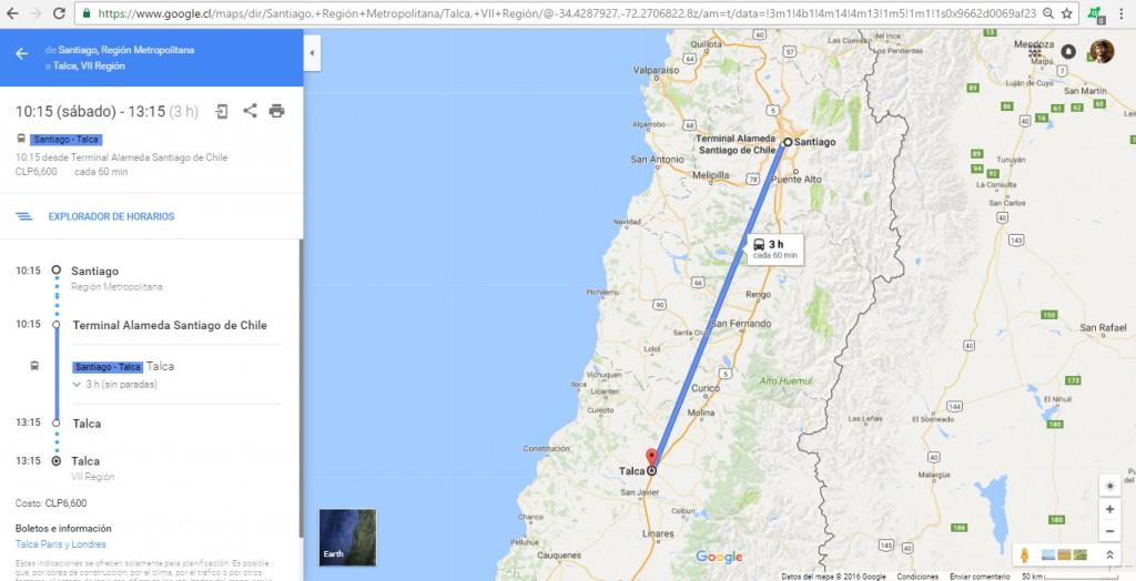 recorrido.cl - buses - google maps - internet - talca parís londres - tpl