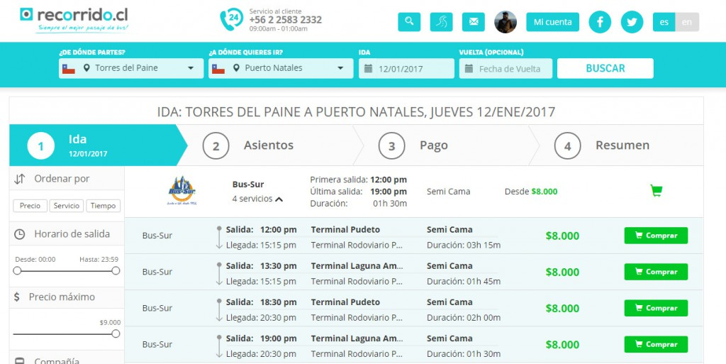 recorridocl - torres del paine - puerto natales - venta online - bus-sur