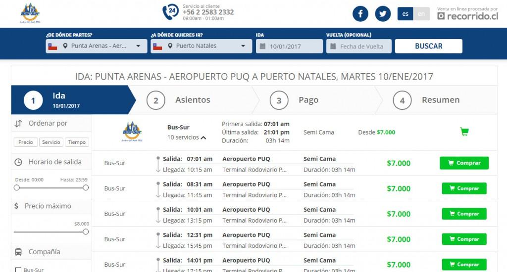 bus-sur.com - venta online recorridocl - aeropuerto punta arenas - puerto natales